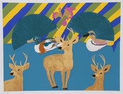 Three Deer, Pop Art Screenprint by Hunt Slonem