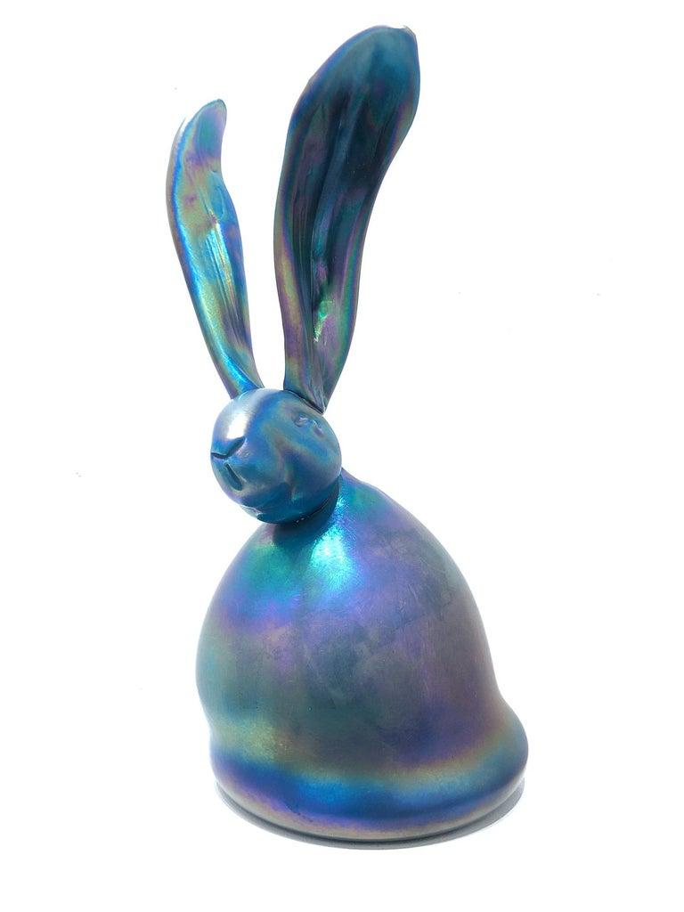 "Hunt Slonem Figurative Sculpture - ""Bella"" Unique Glass Blown Sculpture in an Iridescent Turquoise Green Color"