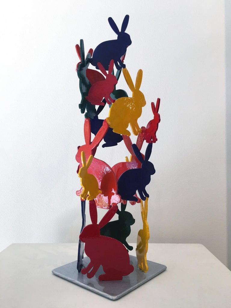 Hunt Slonem Bunnies aluminum sculpture 'Untitled' - Red Figurative Sculpture by Hunt Slonem