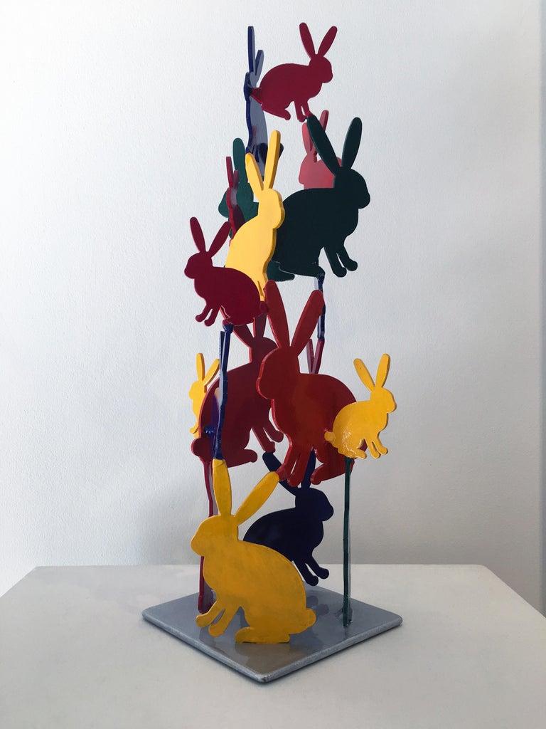 Hunt Slonem Bunnies aluminum sculpture 'Untitled' For Sale 1