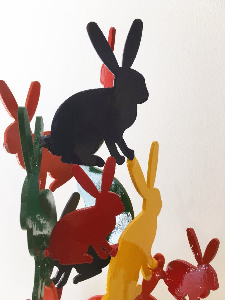 Hunt Slonem Bunnies aluminum sculpture 'Untitled' For Sale 2