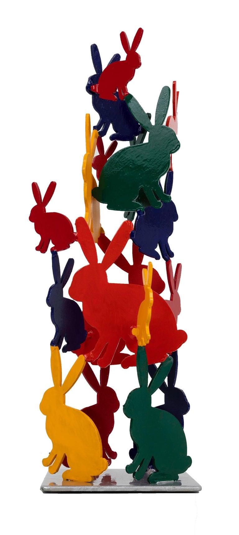 Hunt Slonem Bunnies aluminum sculpture 'Untitled' - Sculpture by Hunt Slonem