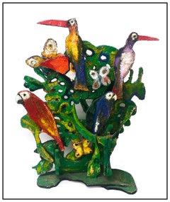 Hunt Slonem Large Original Acrylic Painting Wood Sculpture Macaws Birds Signed