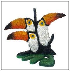 Hunt Slonem Original Painting Wood Sculpture Birds Toucans Parrot Signed Artwork