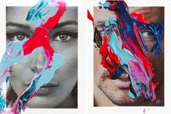 Diptych: Fluid Bella and David, One of a kind, Photo Collage