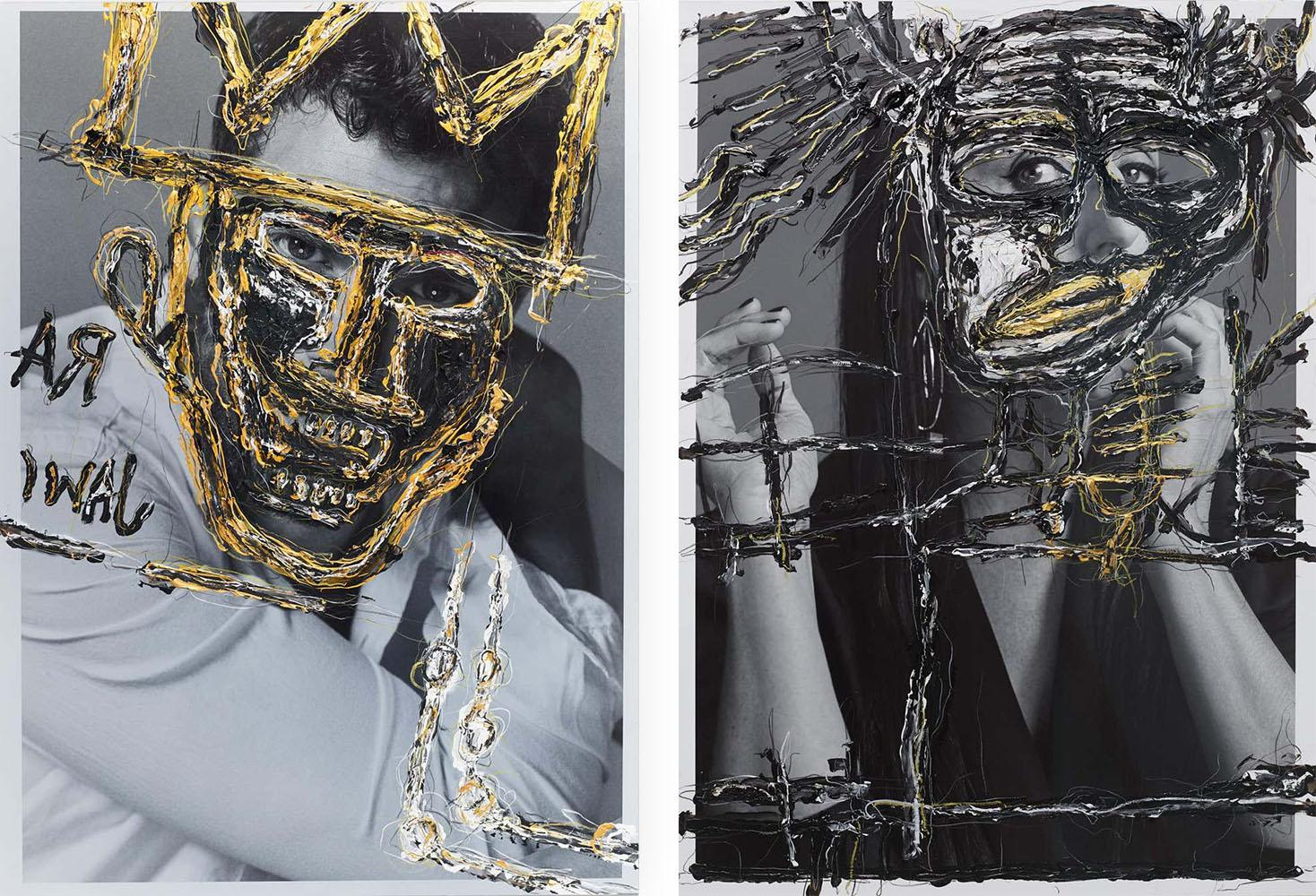 Diptych: Jamie and Rossy, One of a kind photo collage. Intervened by the artist