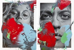 Diptych: Muse and Mars, One of a kind photo collage intervened by the artists
