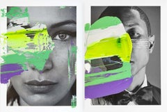 Diptych: Nothing Stays Still, Untitled I and Bella Neon, One of a kind Collage