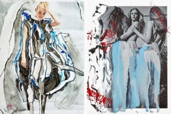 Diptych: Nymphs Empty Spaces and Maiol Nymphs. One of a Kind photocollage