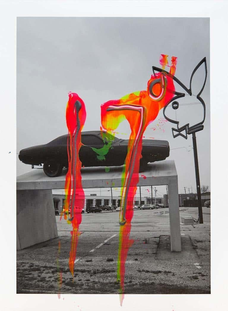 Diptych: Paris Alone and  Daytona Playboy Dallas I, One of a kind Photo collage  - Contemporary Photograph by Hunter & Gatti