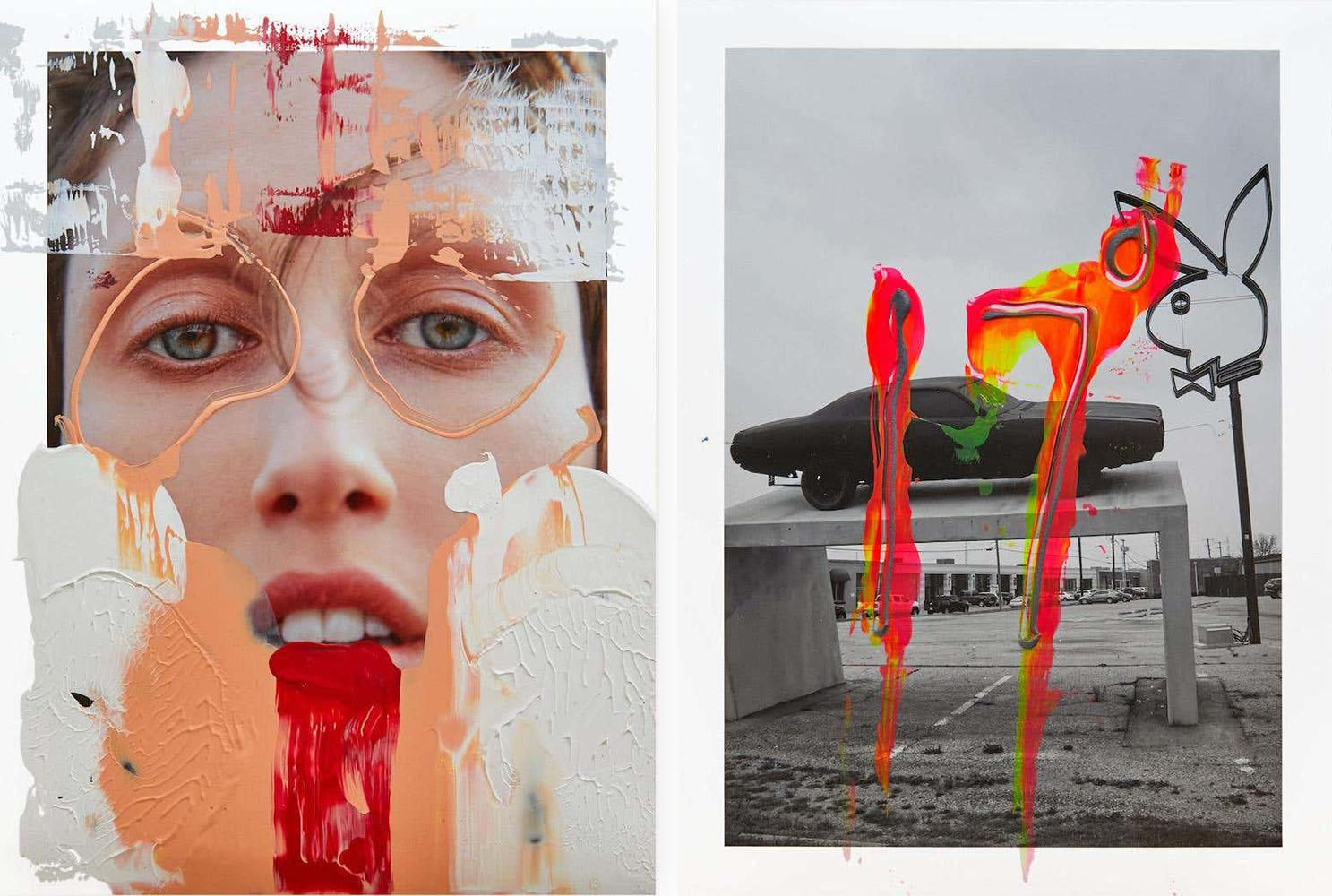 Diptych: Paris Alone and  Daytona Playboy Dallas I, One of a kind Photo collage