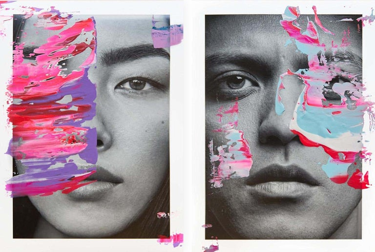 Hunter & Gatti Portrait Photograph - Diptych: Weifang Sun and Bruno Mars, One of a kind photo collage