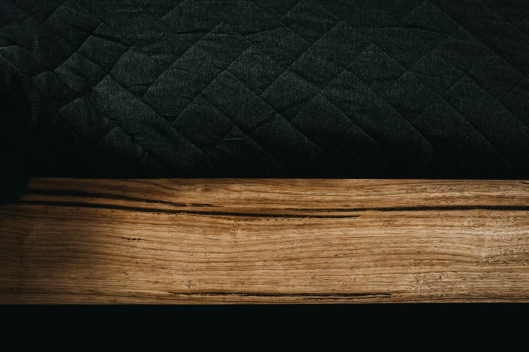 Hand-Carved Hunter Bed, Hancrafted in Tasmanian Messmate Hardwood For Sale