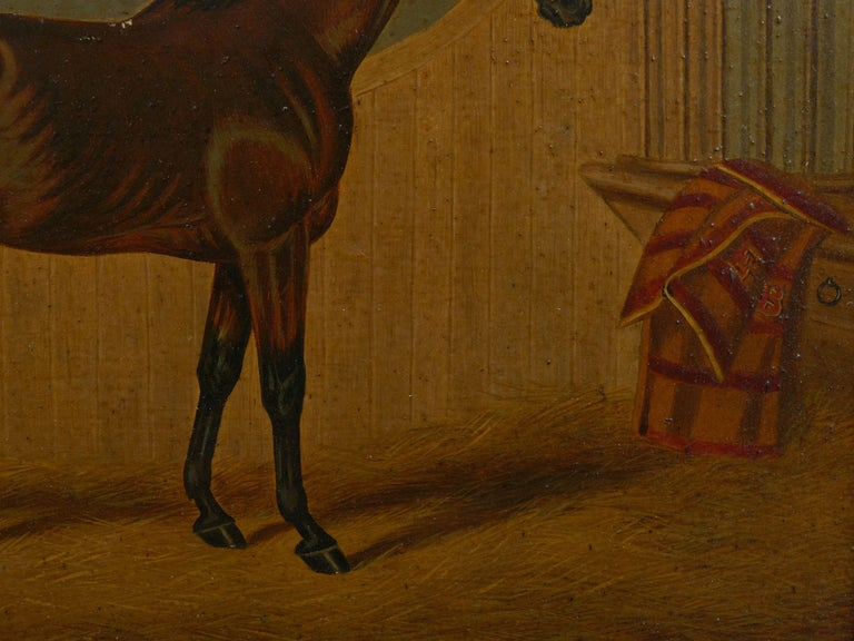 """""""Hunters in Stable"""" Antique English Oil Paintings of Horses, Set of 7 For Sale 6"""