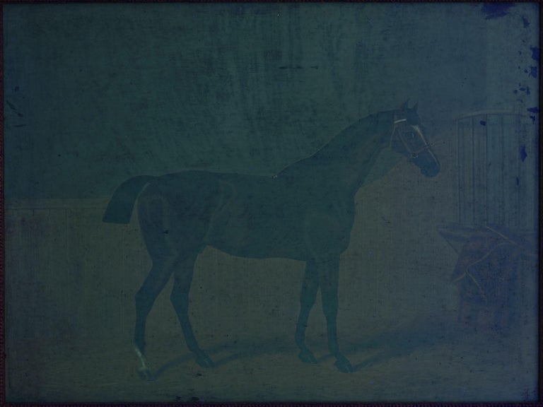 """""""Hunters in Stable"""" Antique English Oil Paintings of Horses, Set of 7 For Sale 9"""