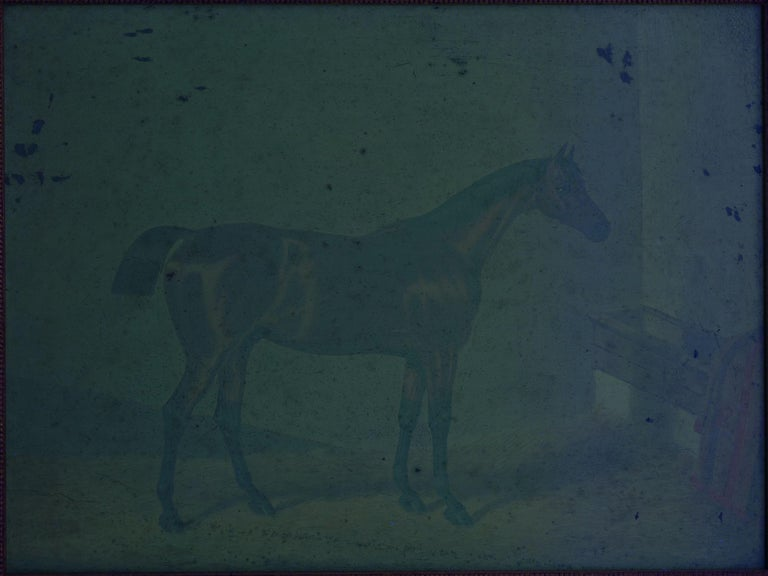 """""""Hunters in Stable"""" Antique English Oil Paintings of Horses, Set of 7 For Sale 10"""
