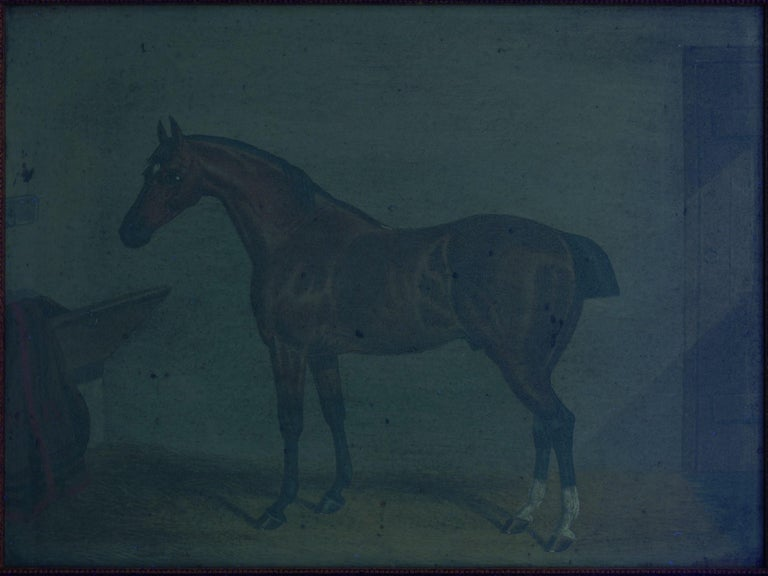 """""""Hunters in Stable"""" Antique English Oil Paintings of Horses, Set of 7 For Sale 11"""