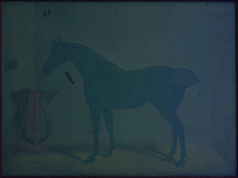 """""""Hunters in Stable"""" Antique English Oil Paintings of Horses, Set of 7 For Sale 13"""