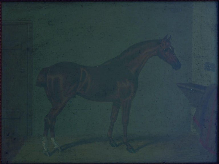 """""""Hunters in Stable"""" Antique English Oil Paintings of Horses, Set of 7 For Sale 14"""