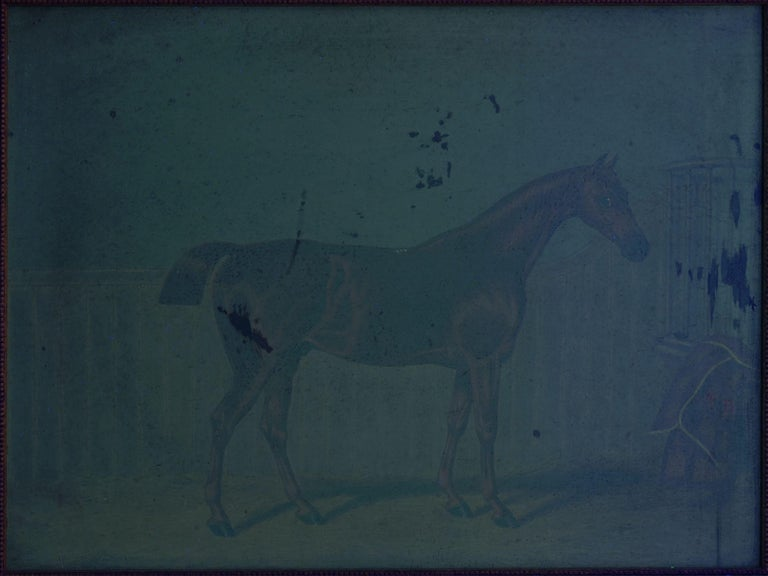 """""""Hunters in Stable"""" Antique English Oil Paintings of Horses, Set of 7 For Sale 15"""