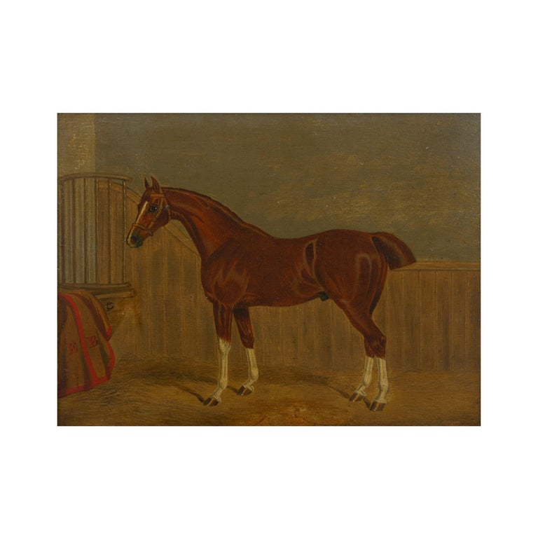 """""""Hunters in Stable"""" Antique English Oil Paintings of Horses, Set of 7 In Good Condition For Sale In Shippensburg, PA"""