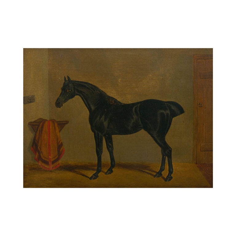 """19th Century """"Hunters in Stable"""" Antique English Oil Paintings of Horses, Set of 7 For Sale"""