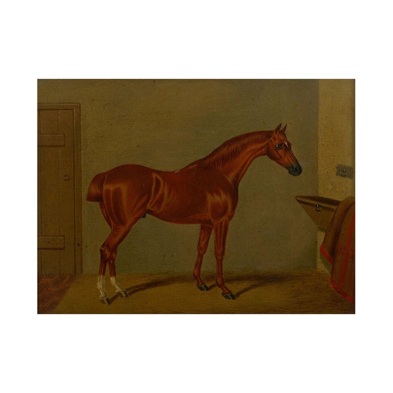"""Giltwood """"Hunters in Stable"""" Antique English Oil Paintings of Horses, Set of 7 For Sale"""