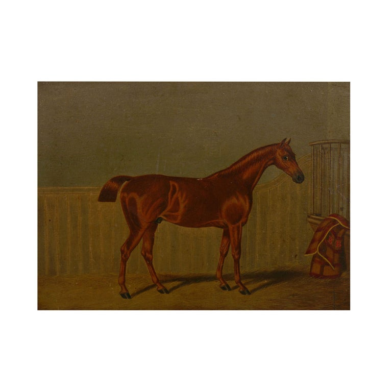 """""""Hunters in Stable"""" Antique English Oil Paintings of Horses, Set of 7 For Sale 1"""