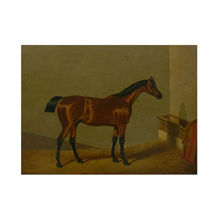 """""""Hunters in Stable"""" Antique English Oil Paintings of Horses, Set of 7 For Sale 2"""