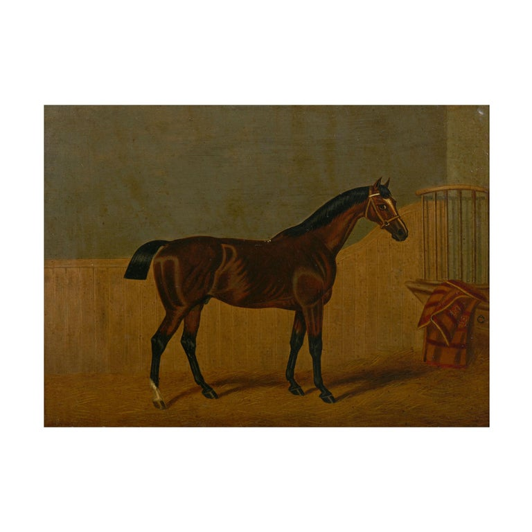 """""""Hunters in Stable"""" Antique English Oil Paintings of Horses, Set of 7 For Sale 3"""