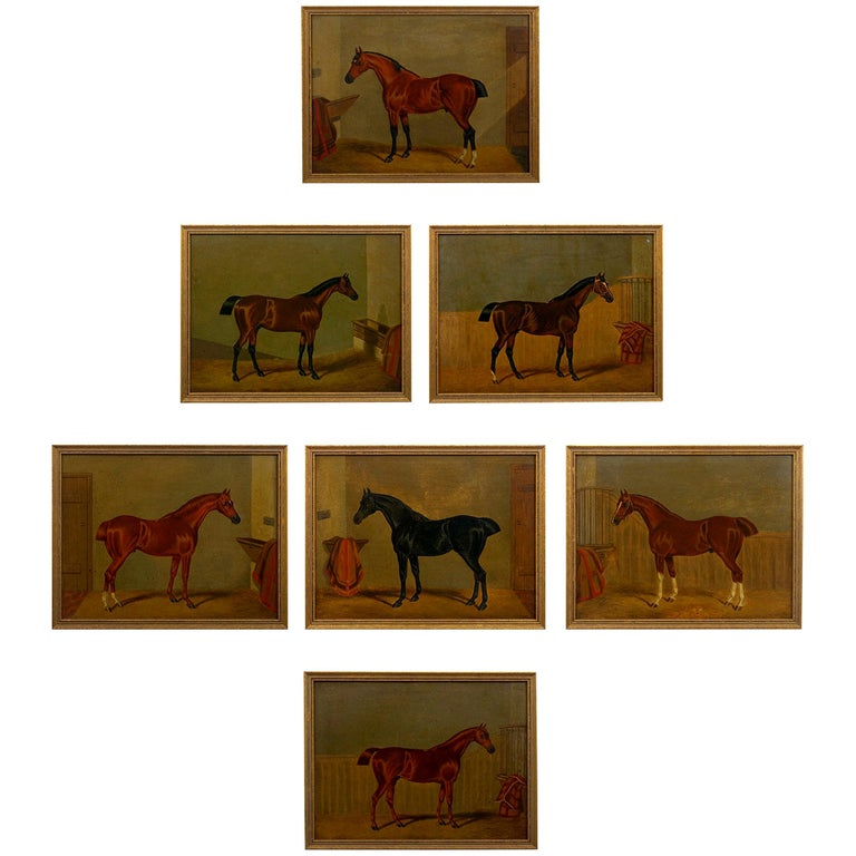 """""""Hunters in Stable"""" Antique English Oil Paintings of Horses, Set of 7 For Sale"""