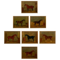 """""""Hunters in Stable"""" Antique English Oil Paintings of Horses, Set of 7"""