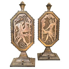 """Hunters with Hounds,"" Rare Pare of Illuminated, Art Deco Bronze Table Lamps"