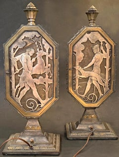 """""""Hunters with Hounds,"""" Rare Pare of Illuminated, Art Deco Bronze Table Lamps"""