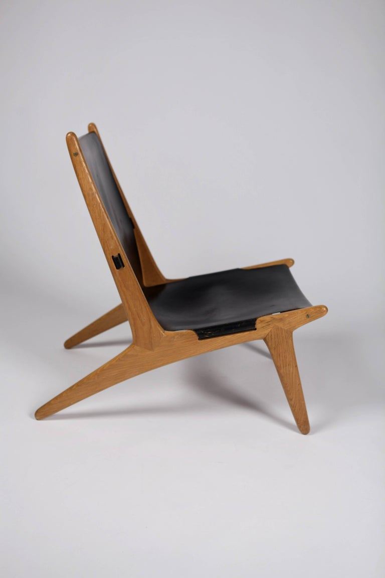 Leather Hunting Chair by Uno & Östen Kristiansson for Luxus, Sweden, 1954 For Sale
