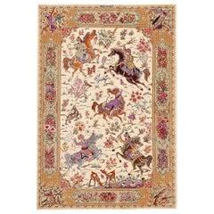Hunting Design Vintage Persian Silk Qum Rug. 3 ft 3 in x 4 ft 10 in