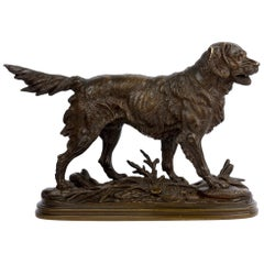 """Hunting Dog"" French Bronze Sculpture by Paul-Edouard Delabrierre, circa 1870"