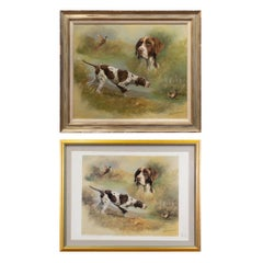 """Hunting Dogs"" Original Oil Painting and Matching Lithograph by D. Suce"