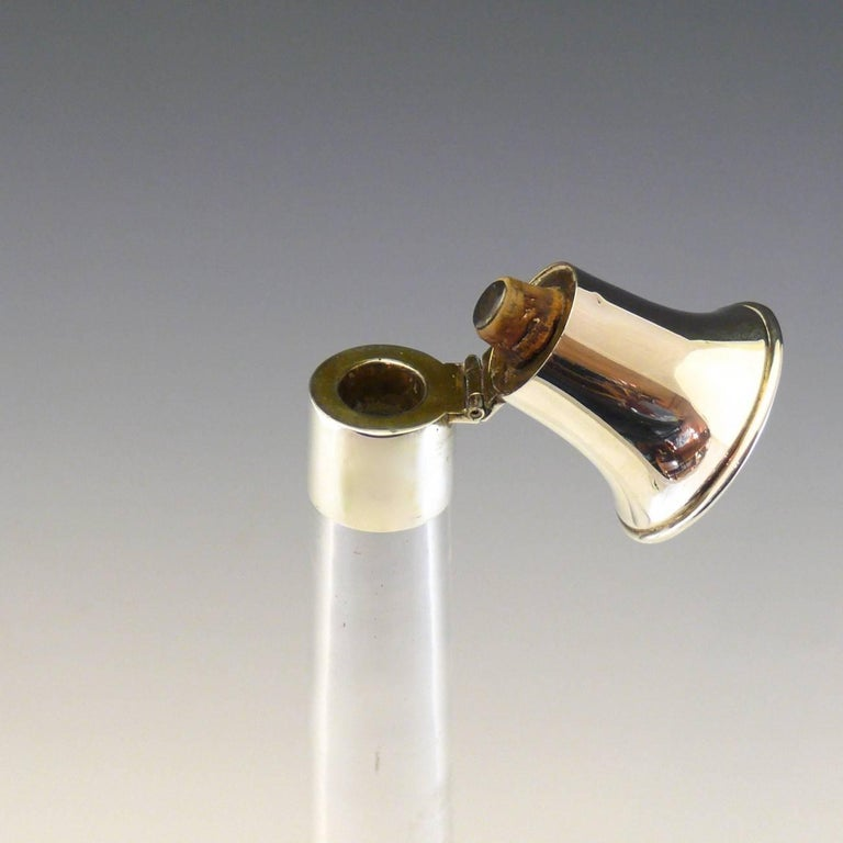 English Hunting Horn Shaped Cut Glass and Sterling Silver Decanter, circa 1890 For Sale