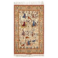 Hunting Scene Vintage Isfahan Persian Rug