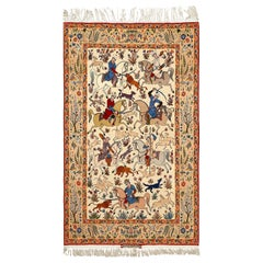 Hunting Scene Vintage Isfahan Persian Rug. Size: 5 ft x 8 ft 2 in