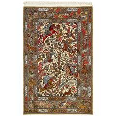 Hunting Scene Vintage Qum Persian Rug. Size: 4 ft 7 in x 6 ft 11 in