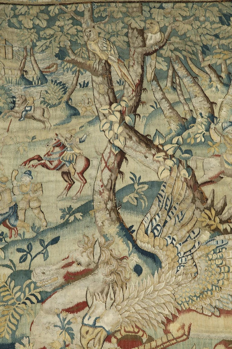 Hunting Scene with Fantasy Animals by Brussels Manufacture In Fair Condition For Sale In PARIS, FR