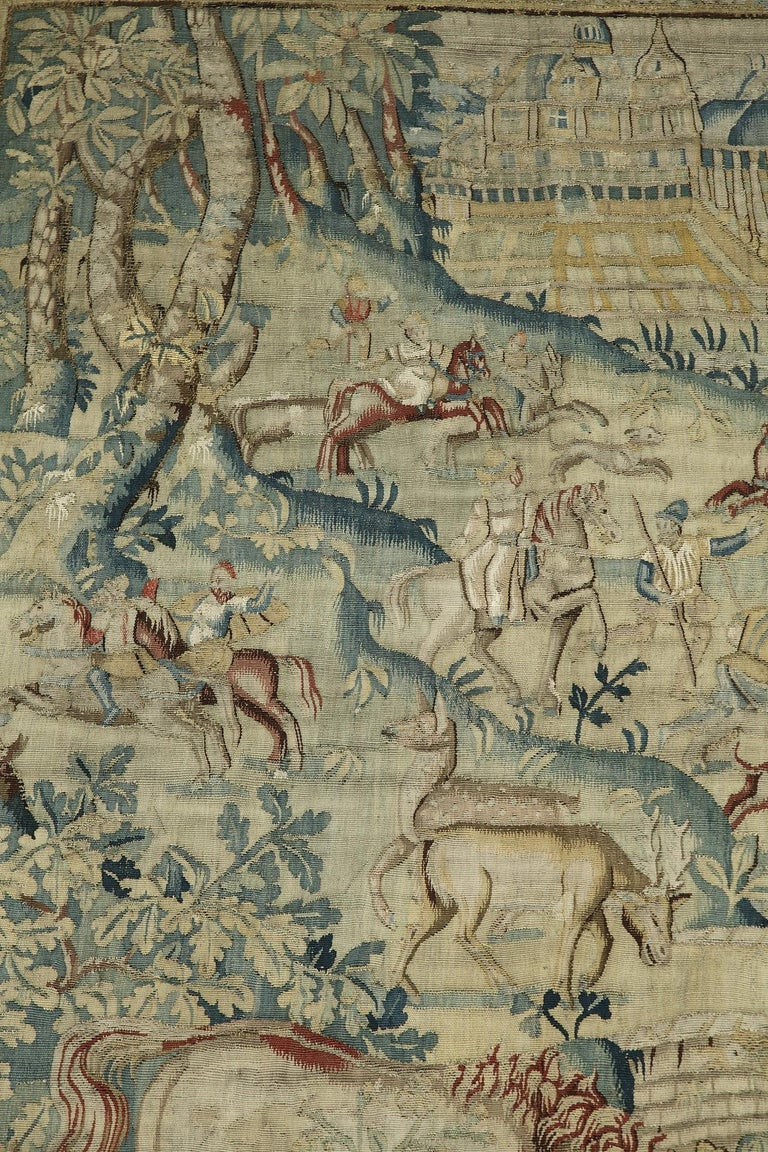 18th Century and Earlier Hunting Scene with Fantasy Animals by Brussels Manufacture For Sale