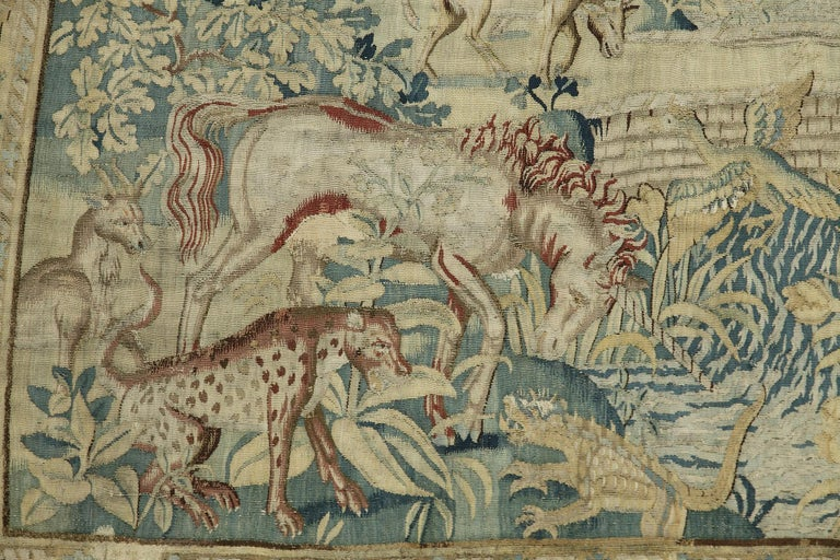 Wool Hunting Scene with Fantasy Animals by Brussels Manufacture For Sale
