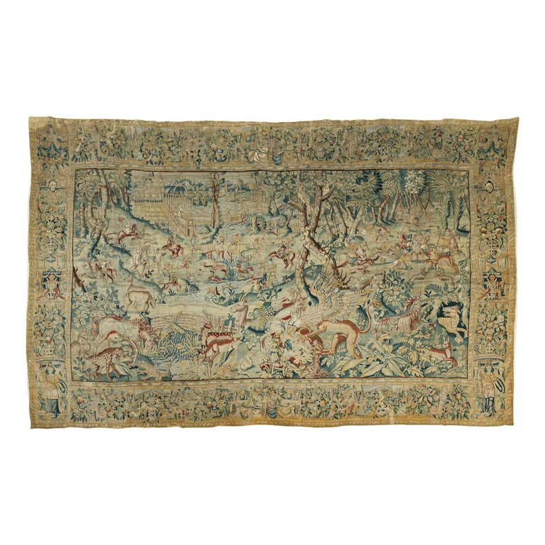 Hunting Scene with Fantasy Animals by Brussels Manufacture For Sale