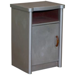 Huntinton Aviation Industrial Art Deco Aluminium Frame Bedside Table with Drawer
