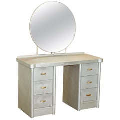 Huntinton Aviation Industrial Art Deco Dressing Table & Mirror Aluminium Frame