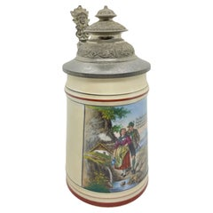 Huntsman Scene Early 20th Century Porcelain Lidded Beer with Face Thumb Rest