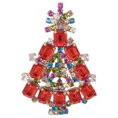 Husar D Czech Jeweled Holiday Christmas Tree Pin Brooch, Ruby, Multicolor Crysta